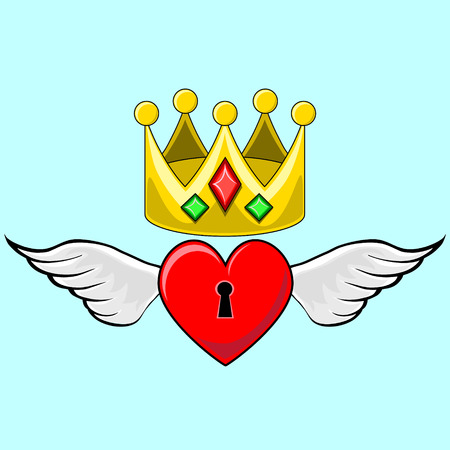 Angel winged heart locket with jewelled Crown on a blue background Vector