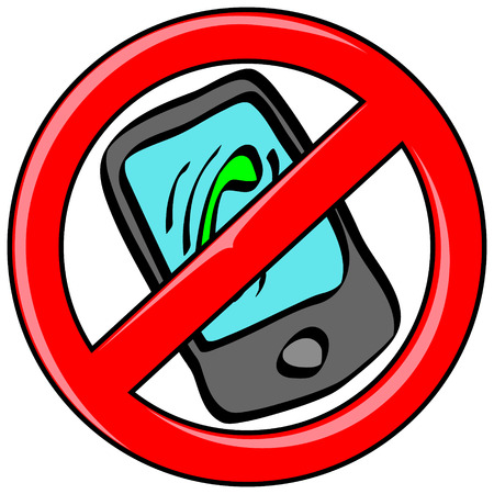 banned: Mobile cell phone with incoming call icon in cartoon vector style inside red banned icon