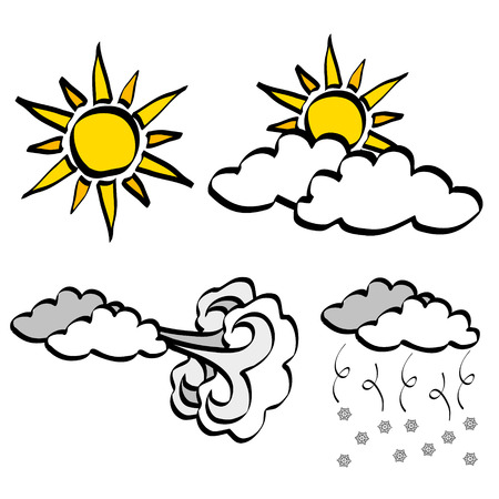partly sunny: Cloud and Sun weather icons in cartoon vector style