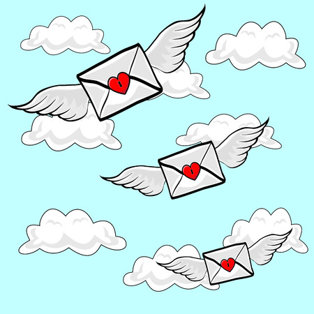though: Valentines Letters sealed with a heart lock, flying on Angel Wings though cloudy blue sky