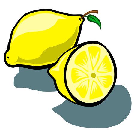 wedge: Cute Lemon and Lemon slice wedge vector cartoon