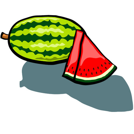 watermelon slice: Cute Watermelon and Watermelon slice wedge vector cartoon Illustration