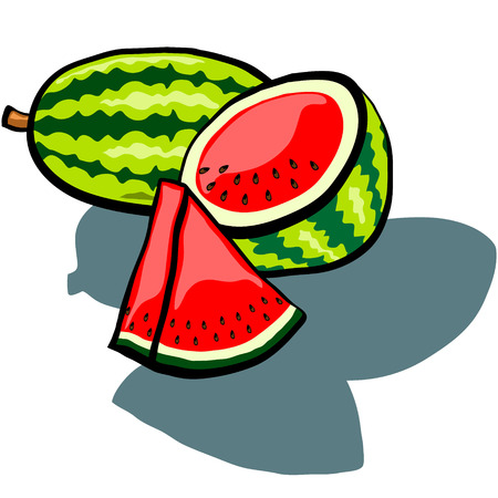 watermelon slice: Cute Watermelon, Watermelon half and Watermelon slice wedge vector cartoon