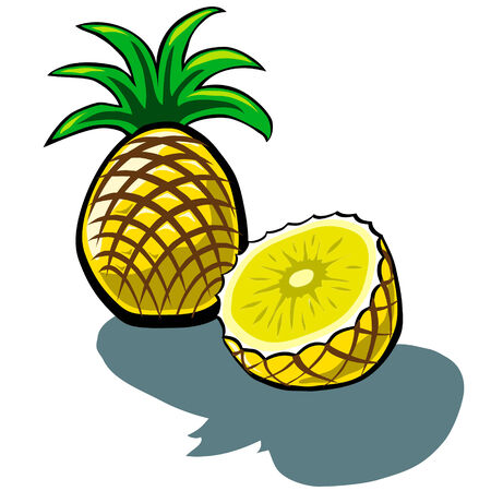 pineapple slice: Ananas Carino e Ananas Slice vector cartoon