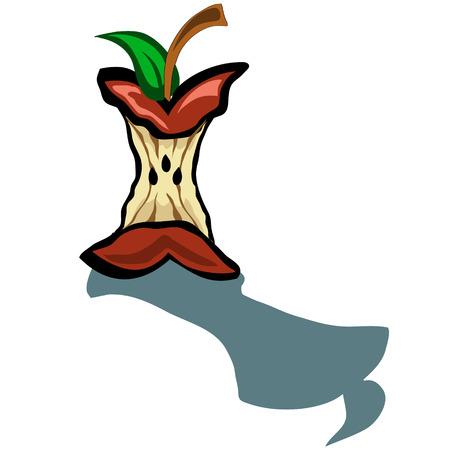 apple core: Cute apple core vector cartoon