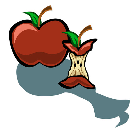core: Cute apple and apple core vector cartoon