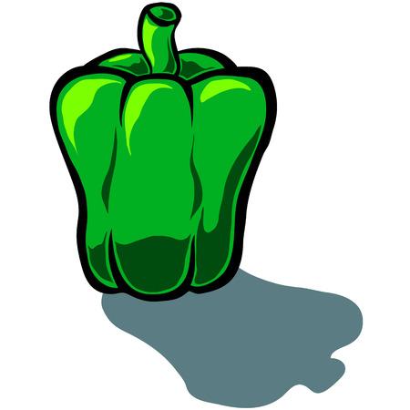 capsicum: Cute vector cartoon capsicum Bell Pepper