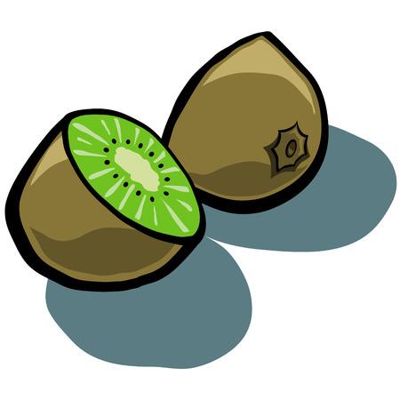kiwi fruit: Historieta linda fruta de kiwi en rodajas