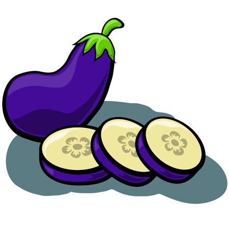 aubergine: Cute cartoon Eggplant Aubergine with Slices
