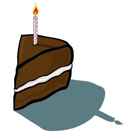 cake slice: Cute cartoon Cake Slice with birthday candle