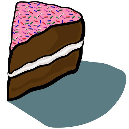 slice of cake: Cute cartoon Iced Frosted Cake Slice Illustration