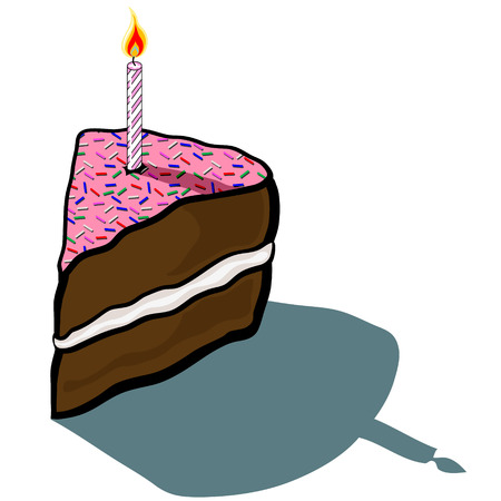 cake slice: Cute cartoon Iced Frosted Cake Slice with birthday candle Illustration