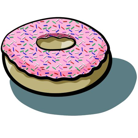 sprinkles: Cute cartoon Iced Frosted Pink Doughnut with Sprinkles Illustration