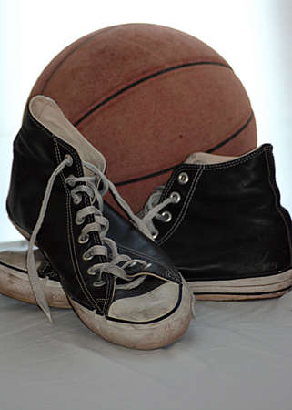 basketball sneakers and ball