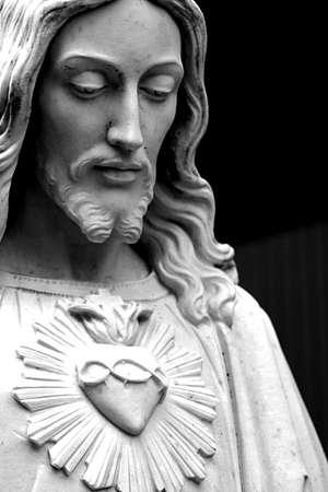 simbolos religiosos: Negro y blanco de Jes�s Foto de archivo