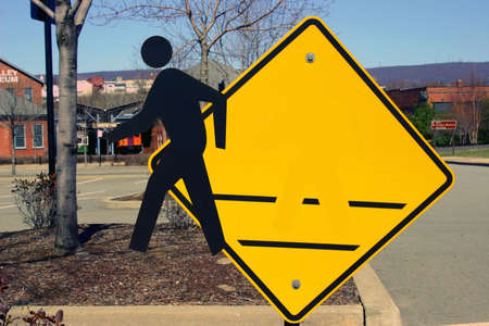 Crosswalk sign, Man leaving sign