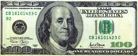 Money, $100 bill Stock Photo