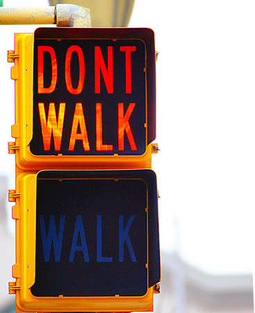 cross roads: Dont Walk Sign Stock Photo