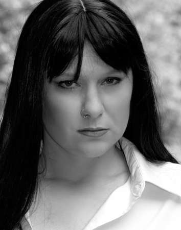 nosering: Woman with nose ring, black and white