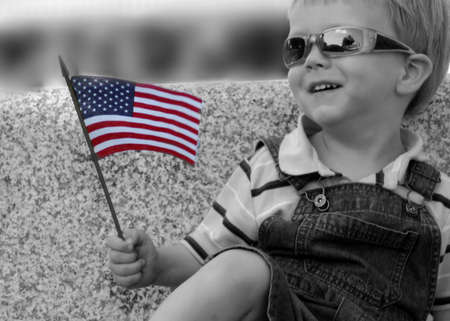 Little boy with American Flag, selective color Stock Photo