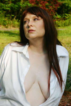 nosering: Beautiful redhead with nose-ring in a mans shirt
