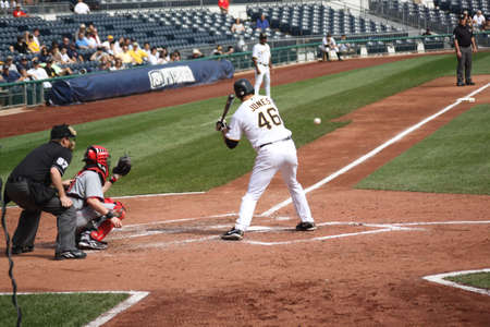 Garrett Jones of the Pittsburgh Pirates bats in a game against Cincinnati Reds on September 24, 2009 in Pittsburgh, PA.
