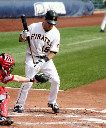Andy LaRoche of the Pittsburgh Pirates watches a pitch against Cincinnati Reds on September 24, 2009 in Pittsburgh, PA.