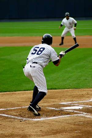 Scranton Wilkes Barre Yankees batter, No. 58, squares to buntn a game at PNC Field on July 31, 2008 in Scranton, PA.