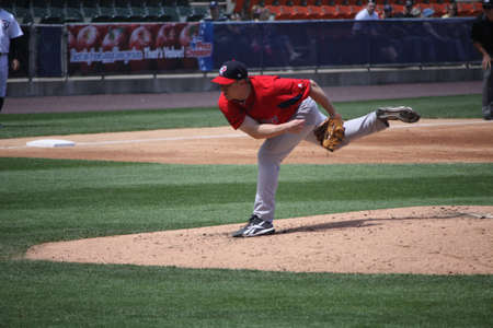 Pawtucket Red Sox pitcher Brandon Duckworth follow through on a pitch in a game against the Scranton Wilkes Barre Yankees at PNC Field on May 8, 2011 in Scranton, PA.