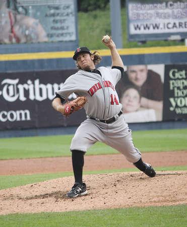 인디애나 폴리스 인디언 투 수 다니엘 모스 스코틀랜드, 실바에서 2011 년 5 월 24 일에 PNC 필드에서 스크 랜 튼 윌크스 바레 양키스와의 경기에서 피치를