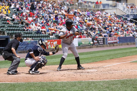 Indianapolis Indians batter Andy Marte looks at a pitch in a game against the Scranton Wilkes-Barre Yankees at PNC Field on May 24, 2011 in Scranton, PA.