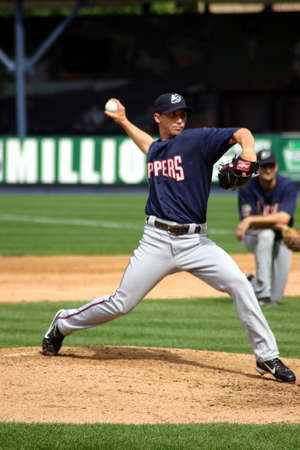Columbus Clippers pitcher fires the ball against the ScrantonWilkes Barre Yankees in a game at PNC Field June 26, 2008 in Scranton, PA.