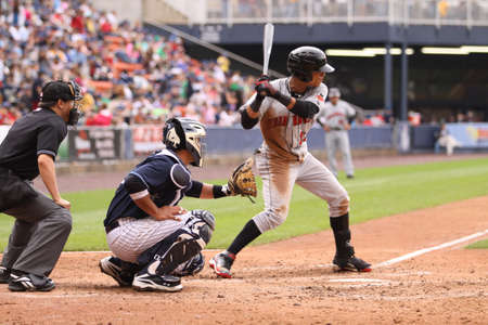 Indianapolis Indians center fielder Gorkys Hernandez checks his swing in a game against the Scranton Wilkes Barre Yankees at PNC Field on May 24, 2011 in Scranton, PA.