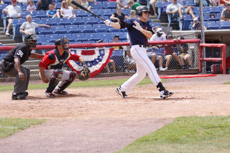 BINGHAMTON, NY - JULY 7: Binghamton Mets batter Alan Dykstra swings at a pitch in a game against the Portland Sea Dogs at NYSEG Stadium on July 7, 2011 in Binghamton, NY
