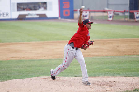 Portland Sea Dogs pitcher Stolmy Pimentel throws a pitch in a game against the Binghamton Mets at NYSEG Stadium on July 7, 2011 in Binghamton, NY