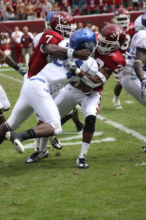 Temple defensive back Marquise Liverpoole makes a tackle against Buffalo on September 26, 2009 in Philadelphia, PA. Editorial
