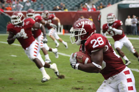 Temple defensive back Marquise Liverpoole returns an interception against Buffalo on September 26, 2009 in Philadelphia, PA.