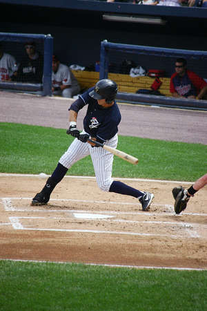 SCRANTON, PA - AUGUST 24  Scranton Wilkes Barre Yankees batter Ray Kruml swings at a pitch  in a game against the Rochester Red Wings at PNC Field on August 24, 2011 in Scranton, PA  Editorial