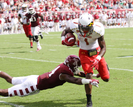 PHILADELPHIA, PA. - SEPTEMBER 8: Maryland receiver#1 Stefon Diggs makes a cathc during a game against Temple on September 8, 2012 at Lincoln Financial Field in Philadelphia, PA.  Editorial