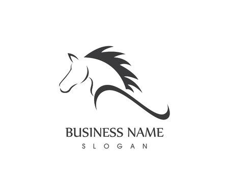 馬の頭のシルエットのベクター デザイン タトゥー ロゴ