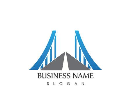 Business Bridge Logo Design Vector Icon Template Illustration