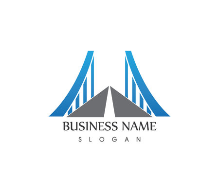 Business Bridge Logo Design Vector Icon Template Vettoriali