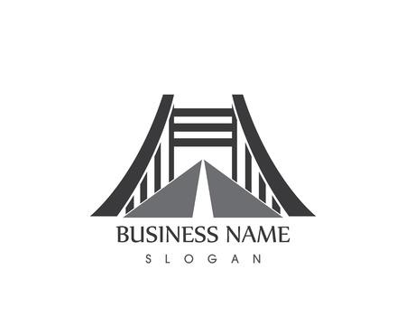 Business Bridge Logo Design Vector Icon Template Иллюстрация