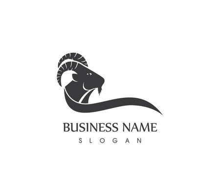 Modèle vectoriel de logo tête de chèvre Logo