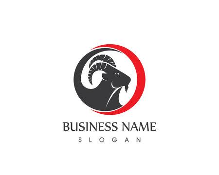 Goat head logo vector template