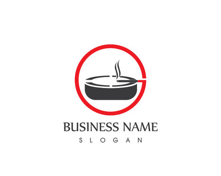 Ashtray smoking logo template