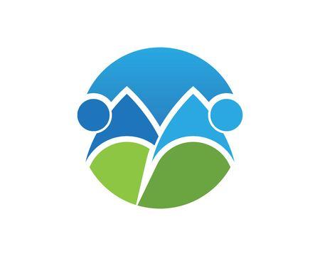 Mountain People Logo Design Template  イラスト・ベクター素材