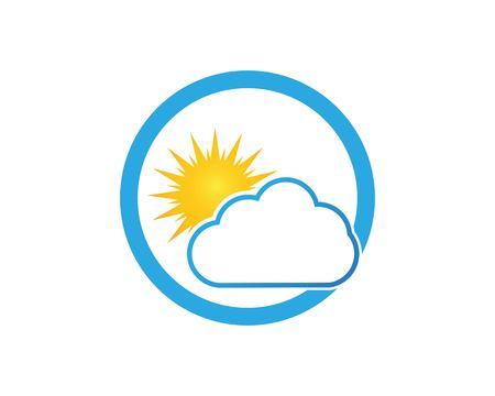 Cloud And Sun Weather Logo Design Template Illustration