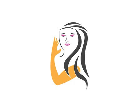 Beauty Women face silhouette character Logo Template Illustration