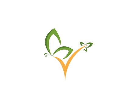 Green butterfly logo design Vettoriali